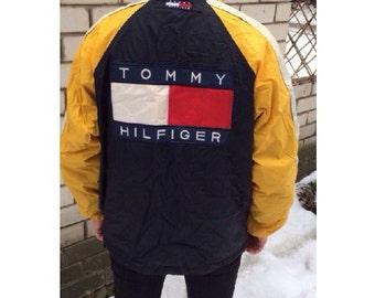 Tommy Hilfiger jacket, vintage yellow Tommy jacket of 90s hip-hop clothing, big logo, 1990s hip hop college jacket, OG, gangsta rap, size L