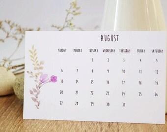 Desk Calendar, Botanical illustration, Desk Accessories, 2017 Calendar, Monthly Calendar, 2017 desk calendar, calendar 2017, desk decor