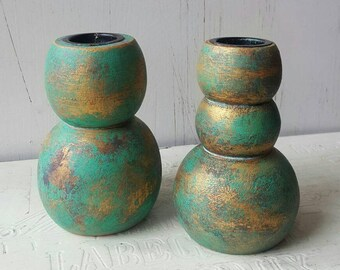 Gold and green Shabby Chic pair of candle stick holders