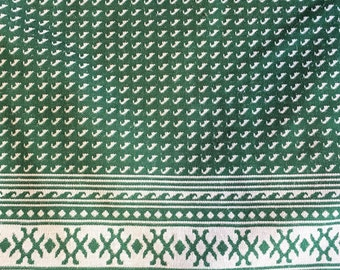 Vintage Fabric, Wave Print 1970s Fabric, Green Geometric Print, Polyester Double Knit, 70s Fabric, Vintage Sewing Supplies, Southwest Print