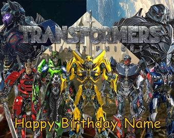 Transformers Optimus Prime Last Knight Edible Image Cake Topper Personalized Birthday 1/4 Sheet