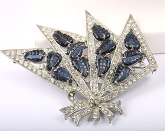 Eisenberg Original Open Fan Brooch with Deep Blue Stones