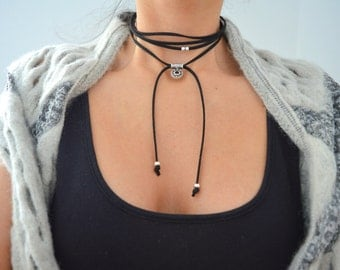 Black suede choker with hollow CIRCLE, Silver Charm necklace, Black Suede Choker, Wrap Necklace, Tie Up Bolo Necklace, Bohemian Necklace
