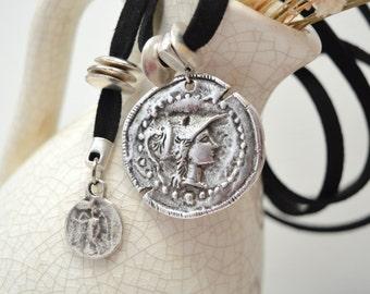 Silver Athena Goddess Black Suede Choker Necklace, Silver Coin Necklace, Tie Up Bolo Necklace, Bohemian Tribal Ethnic Ancient Greek Jewelry