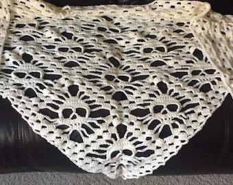 Crocheted skull shawl