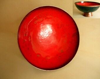 red enamel footed bowl / Germany / vintage / 1960s