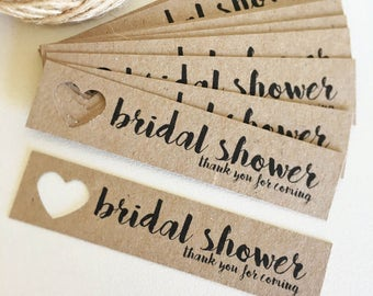 Bridal Shower Tags Pk10 - Rustic. Kraft Brown.