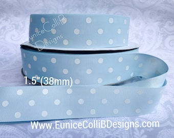 "1.5"" Light blue and white polka dot grosgrain ribbon"