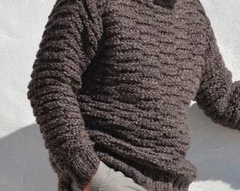 Mocha/taupe Mr sweater hand knitted Merino/Babyalpaca