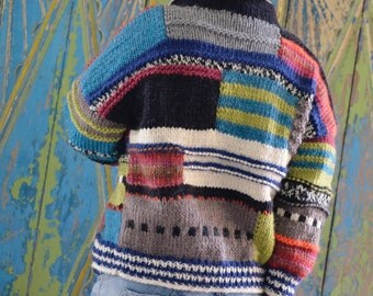 asymmetrical, hand-knitted wool jacket, patchwork, free shipping