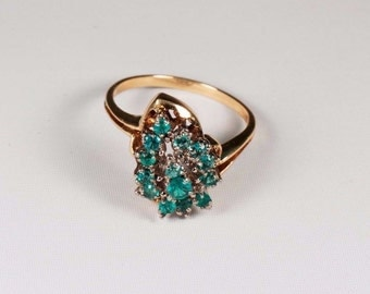 18K Yellow Gold Natural Emerald Cluster Ring, 4.1 grams, size 7