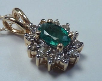 """14K Yellow Gold Emerald and Diamond Pendant with 18"""" 14K Chain"""