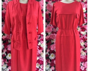Vintage Red Romney Dress and Matching Jacket