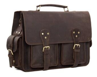 """15"""" Handmade Vintage Leather Briefcase Mens Messenger Bag, Crossbody Shoulder Bag, Satchel Bag"""