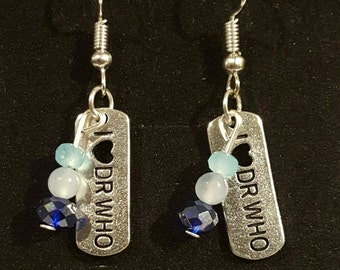 Doctor Who earrings. I heart Dr Who dog tag style earrings with blue crystals and beads.