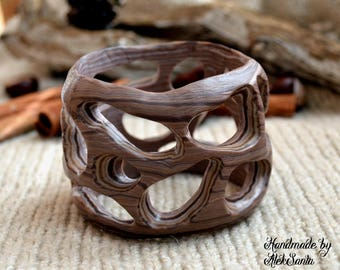 Boho bracelet Wide bracelet Fashion bracelet Brown bracelet Unusual bangle Beige bracelet Chunky bracelet Polymer clay jewelry for women