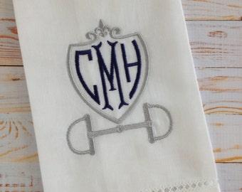 Riding Shield Monogram Linen Guest Towel