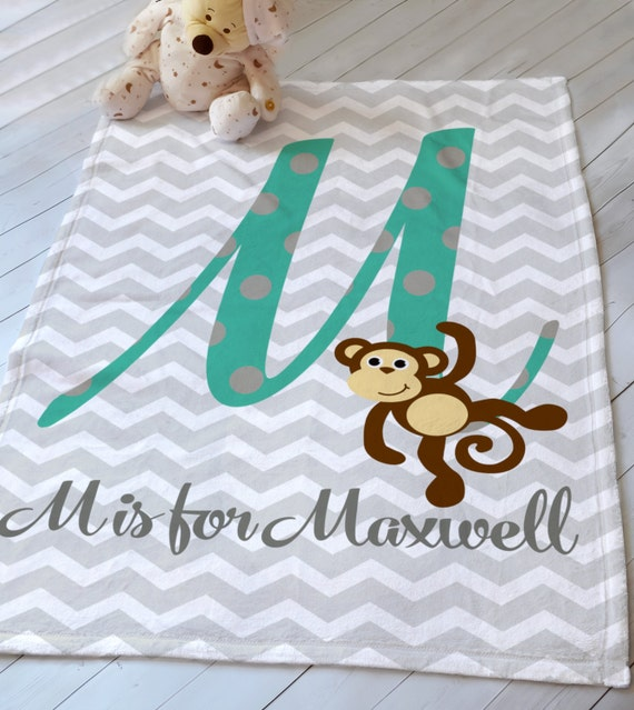 Personalized Letter Monkey Baby Blanket