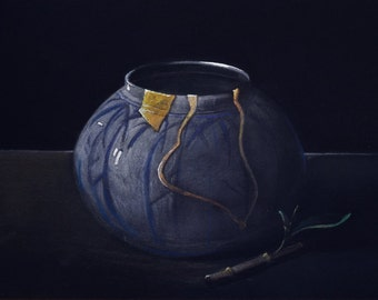 Kintsugi'  Still Life painting of  a Kintsugi piece, (broken pottery mended with gold)  original painting by Alan Harris