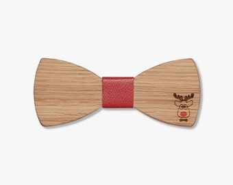 Wood Christmas Bow Tie, Christmas Wedding Bowtie, Winter Accessories, Rudolf Bowtie, Hand Crafted Bowtie, Unique Bowtie, Red Bow Tie
