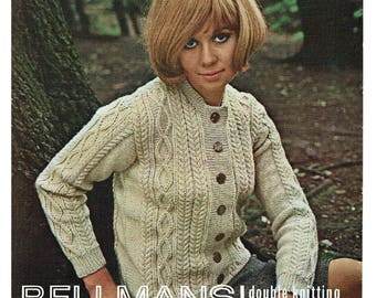 Classic ladies cardigan/jacket from the 1960's. PDF Knitting pattern. Vintage.
