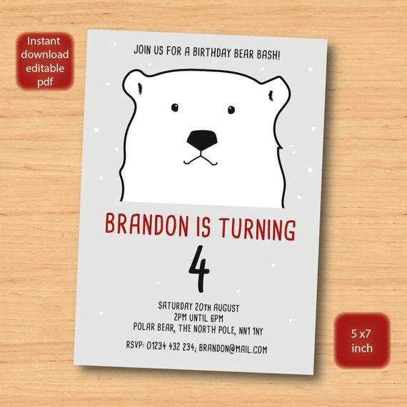 Polar Bear Birthday Invitation SELF EDITABLE PDF 5 X 7