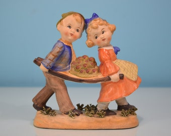 Ucagco Figurine Apples Boy Girl Carrying A Bushel Fine Rare Vintage Antique Collectible Cute Ceramic Young Brother Sister Apple Figurine