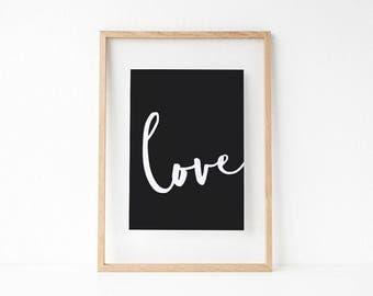 Love. Black and white typographic print