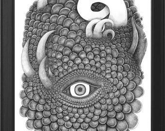 Detailed Original Handmade Fantasy Illustration (The Dragon's Eye)