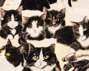 Cats Kitten Cotton Fabric Tuxedo Cats by Exclusively Quilters by the Half Yard