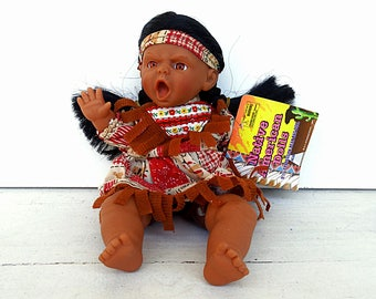 Shaman doll toy 9in ORIGINAL Native American Dolls American Indian girl Pocahontas expression doll toy bean bag doll 1997 new with tags