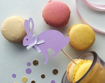 Set of 12 Bunny toppers- Easter bunny toppers - spring toppers - Easter cupcake toppers- Easter appetizer toppers- Bunny appetizer toppers