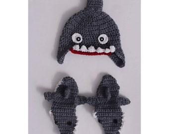 Crochet newborn shark photo prop