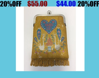 Vintage Anna Sui Metal Mesh Yellow Blue Pink Purse Pouch