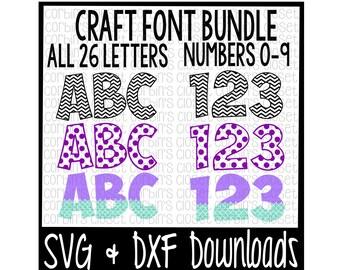 SVG Font Bundle * Polka Dot * Mermaid * Chevron Cut File - DXF & SVG Files - Silhouette Cameo, Cricut