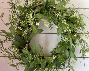 Berry wreath, greenery wreath, spring wreath, front door wreath, summer wreath, wall wreath, farmhouse wreath, farmhouse decor, gift
