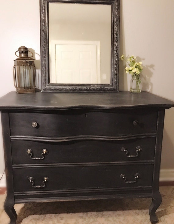 holiday sale gorgeous black vintage dresser baby changing. Black Bedroom Furniture Sets. Home Design Ideas