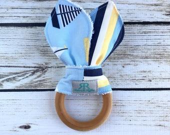 Nautical Organic Maple Wood Teether | Teething Toy | Nautical Teether | Baby Gift | Baby Shower Gift | Organic Baby Toy | Sailboats Baby Toy