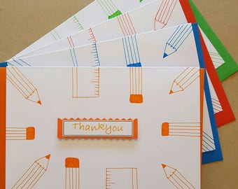 Thank you teacher card. 4 pack. Blue, Green, Red and Orange. Blank inside. Worldwide shipping available