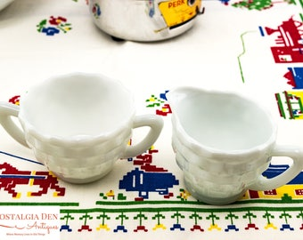 Milk Glass Creamer and Sugar | Vintage Jeanette Glass Cube
