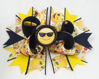 Emoji Hair Bow-Hair Accessories/Little Girl Hair Bow/Toddler Hair Bow/Tween Hair Bows/Accessory/Yellow Bow/Bottle Cap Center/Stack Hair Bow
