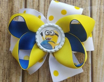 Girls Minions Layered Boutique Bow  - Layered Ribbon Bow - Lined Clip Bow - Party Bow - Summer Bow - Girls polka dot Bow