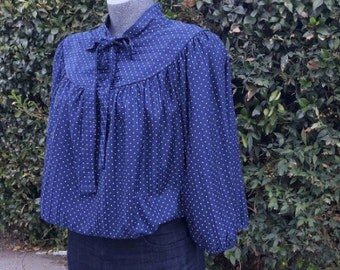 Womens Vintage Pussy Bow Blouse, Wide Sleeves, Smock Shirt, Navy with White Polka Dots, 3/4 Sleeves, 1970s, Size Large