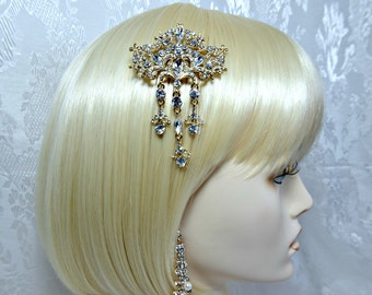 Art Deco Hair Comb, Gatsby Hair Comb, 1920s Roaring 20s crystal tassel gold hair comb, gatsby wedding, great gatsby accessories dress party