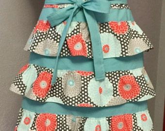 Half Apron, flowered apron, cooking apron, ruffled apron, floral, chef, aqua