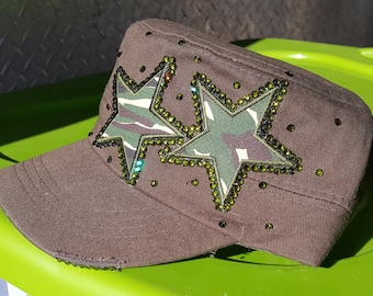 Custom 1 of a Kind Olive Green with Camo Stars & Bling Cap