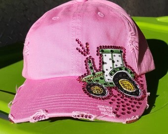 Custom Pink Cap with Tractor & Bling