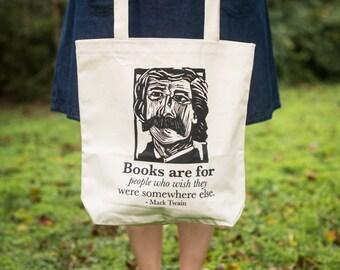 Mark Twain quote tote bag -- book tote -- literary gifts for teacher -- classic literature gift -- bookish tote -- Mark Twain tote