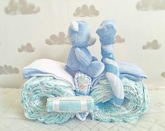 Maternity Gift, Blue Diaper Cake, Baby Shower Gift, Unique Baby Boy Gift, New Baby Gift, Newborn Gift, Nappy Cake, Boy Diaper Cake Centrepie