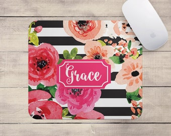 Personalized Floral Mouse Pad - Watercolor Flowers - Mousepad Monogram Custom Office Decor Desk Accessories Best Seller Floral Gifts